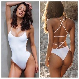 Other - White Strappy Braided One Piece